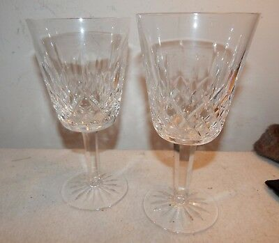 Set of Two Vintage Waterford Crystal Glass Lismore Water Goblets / 6 7/8 Inch
