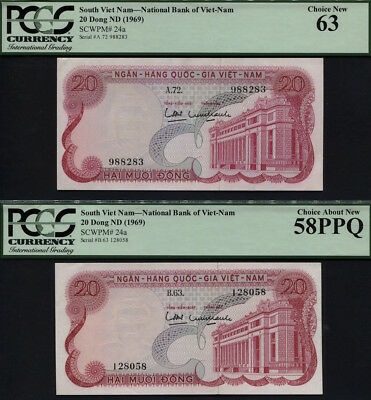 TT PK 24a 1969 SOUTH VIETNAM 20 DONG PCGS 58 PPQ & 63 SET OF TWO BANKNOTES!