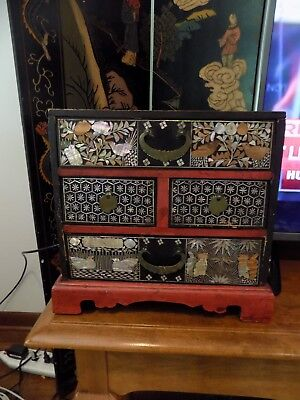 """Antique Chinese Black Red Lacquer Pearl-Inlay 10.5""""x 10-5/8""""x 10.25"""" Jewelry Box"""