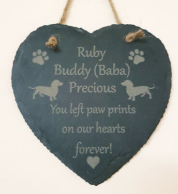 Personalised Pet Momorial Slate Heart Stone Plaque Cat Dog Rabbit Grave Marker
