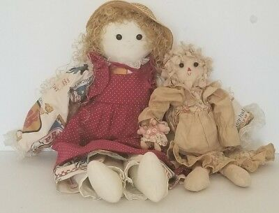 The Country Loft Charming Handmade Dolls * Pair of Keepsake Collectible Dolls