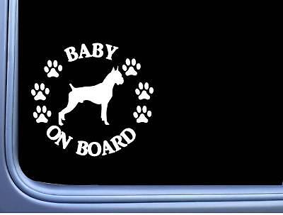"Baby on Board Boxer Cropped L479 6"" Sticker decal"