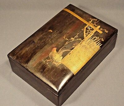 Meiji Period Japanese Lacquer Rooster & Hen Trinket Box