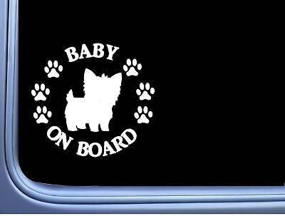 "Baby on Board Yorkie L539 6"" Sticker Yorkshire Terrier dog decal"