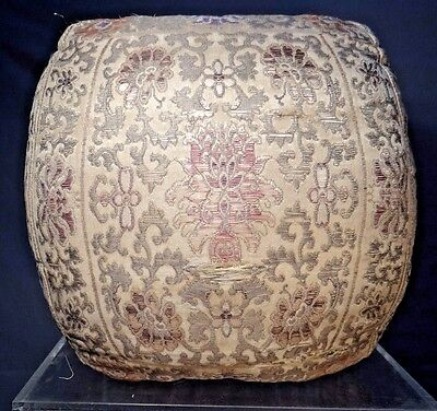 19th C. Qing Dyn. Chinese Silk Embroidered Brocade-Woven Arm Cushion