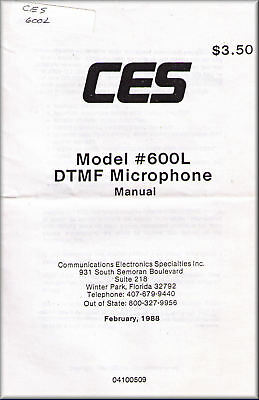 CES Manual 600L DTMF MICROPHONE
