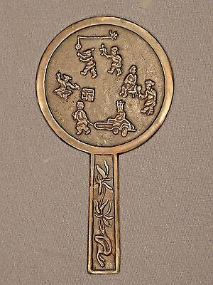 Ming Dynasty Chinese Bronze Mirror with Handle and Figures