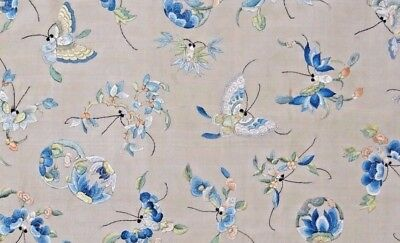19th C. Qing [Ching] Dynasty Chinese Silk Embroidered Butterfly/Flora Panel