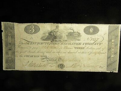 1814 $3.00 Manufactures Exchange Obsolete Note.