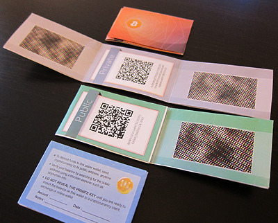 Pack of 5 Bitcoin Paper Wallet  SECURE Cold Storage