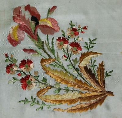 Antique Silk Panel Hand Embroidered Posy of Flowers Iris Pinks c1840-50