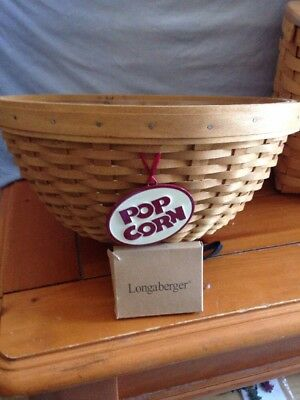 Longaberger 11 Inch Basket Bowl W/ Hard Plastic Protector And Tie On