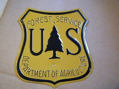 Vintage used US Forest Service Embossed Shield Sign.