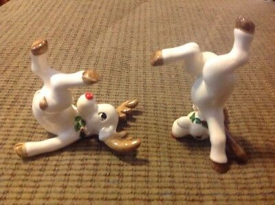 Fitz and floyd Tumbling Porcelain Reindeer (2) Christmas Ornaments