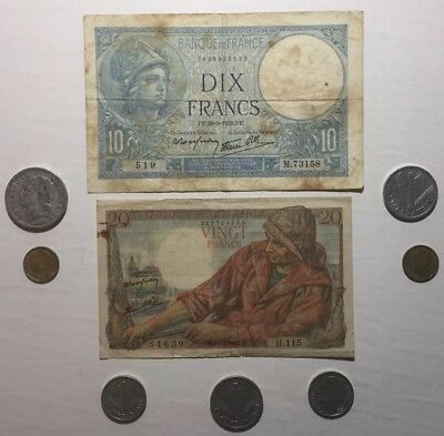 French Collection, 2 Banknotes + Various Coins. Small Lot.. Very Collectible