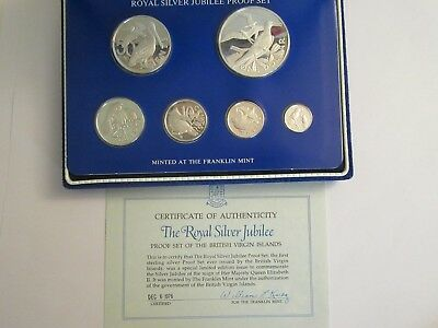 1977 BVI Silver Jubilee Proof Set, 6 .925 silver coins, Franklin Mint pkg & coa