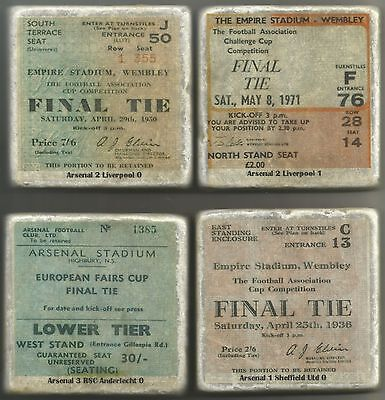 Set of 4 Arsenal Cup Final Tickets printed on Coasters
