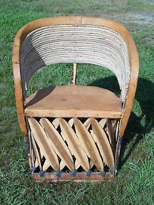 Vintage Mexican Equipale Leather & Willow Barrel Café Dining Chair Patio