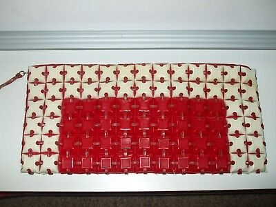 VINTAGE 1940's PLASTICFLEX TILE  RED and WHITE PURSE