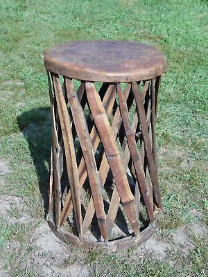 Vintage Mexican Equipale Leather Barrel Patio Café Dining Table