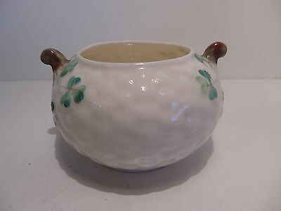Belleek 3rd Black Mark Shamrock Two Handle Sugar Bowl Basket Weave 1926-46