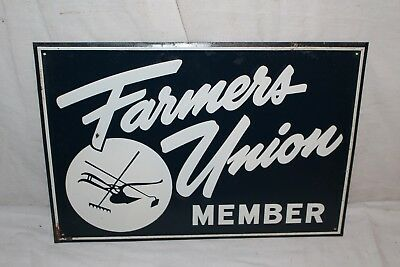 Vintage 1940's Farmers Union Feed Seed Pig Cow Chicken Farm Embossed Metal Sign