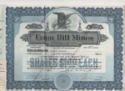 Stock- Union Hill Mines- Grass Valley, CA. 1915