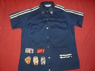Vintage 1980's Hilton Rockabilly Blue Bowling Shirt with Patches/Pins Size 40