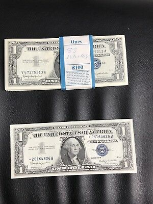 UNCIRCULATED LOT OF 88 silver certificates series 1957b.blue seal.