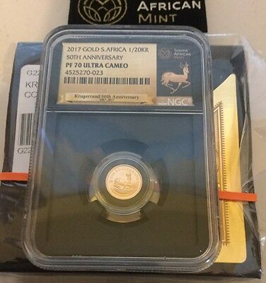 2017 South Africa 1/20 oz 50th Anniversary Gold Krugerrand NGC PF70 Black Core