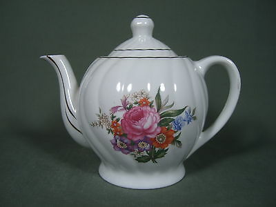 Vintage White And Pink Floral Teapot With Gold Trim Made In Japan