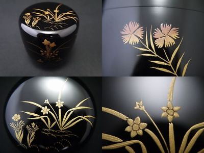 Japanese Traditional Lacquer Wooden Tea Caddy SPRING FLOWERS makie Natsume (908)