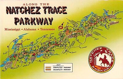 Map postcard Along the Natchez Trace Parkway Mississippi Alabama Tennessee