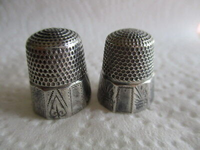 2 Sterling Silver Thimbles Churches & Hearts Designs One Stern Brothers - AS IS