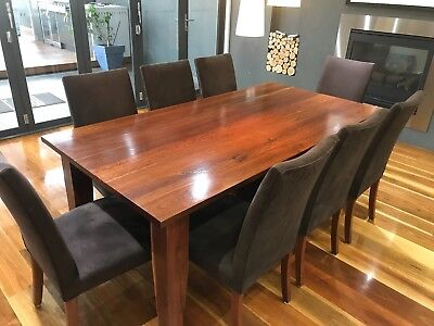 Iron Bark Timber Dining Table & 8 x Chairs