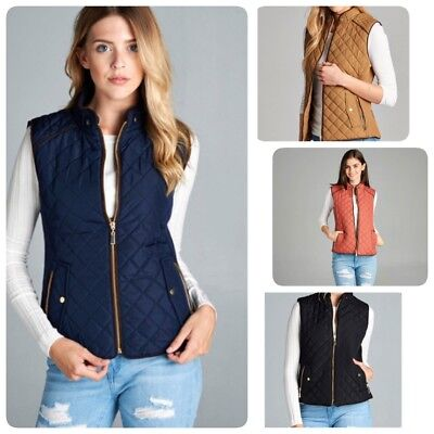 Women's Quilted Padded Vest with Suede Piping Detail USA SELLER