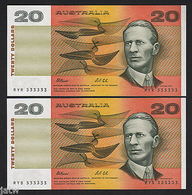 R-413. (1991) 20 Dollars - Fraser/Cole.. SOLID Number 333333 x 2 CONSEC Prefixes