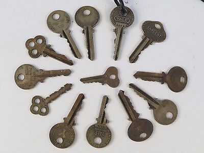 Antique Skeleton Key Lot OLD Lock Door Hardware Heart Shape 13 pcs Yale 19th cen