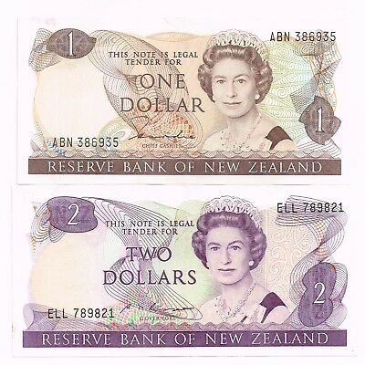 LOT OF TWO 1981-85 NEW ZEALAND ONE & TWO DOLLARS NOTES - p169a,170b