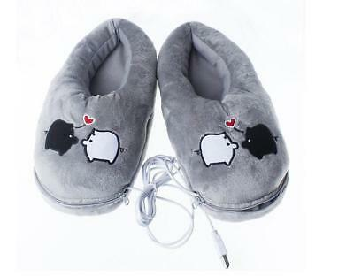New Cute Cartoon Piggy USB Foot Warmer Shoes Electric Heat Slippers Xmas Gift