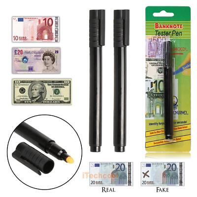 2 x Forged Money Checker Counterfeit Detector Marker Fake Banknotes Tester Pen