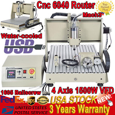 6040 USB 4 Axis CNC Router Engraver 1.5KW VFD Engraving Cutting Carving Drill