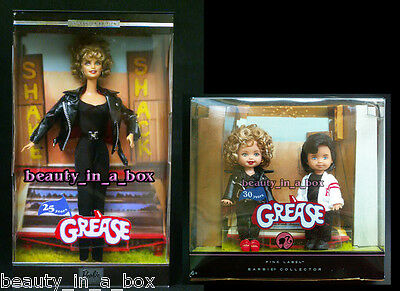 """GREASE Barbie Doll Sandy Black Leather 25th Anniversary Kelly Tommy Lot 2 """""""