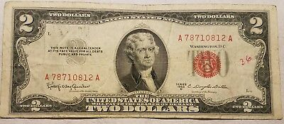 1953-C $2.00 United States Note Red Seal U.S. Two Dollar Bill - ink