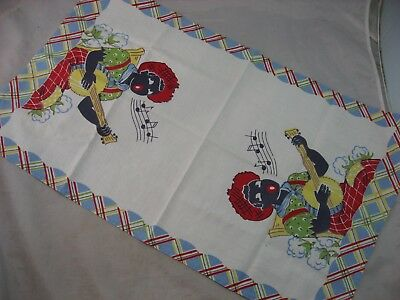 Tea Towel Black Americana Vintage Linen African American Banjo Player Women