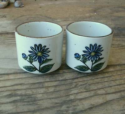 Two Matching Small HANDLE-LESS CUPS Stoneware Pottery HANDPAINTED BLUE FLOWERS