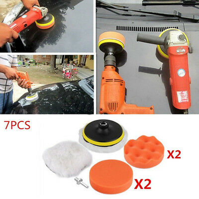 """7pcs 5"""" Buffing Pad Polishing Foam with M10 Drill Adapter Set for Car Polisher"""