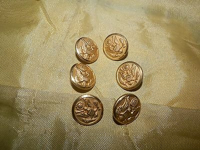 Lot of 6 WWII Era Small Buttons for Dress Jacket