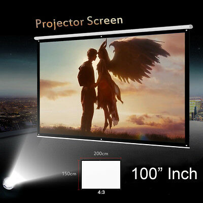 Foldable 100'' Inch 4:3 Projector Projection Screen Film 3D HD Cinema Theater