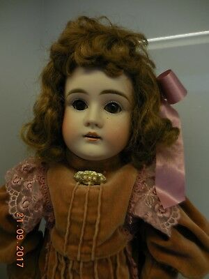 Antique Early Kestner Bisque Head Doll,  Marked 8,  20 Inches Tall, Leather Body